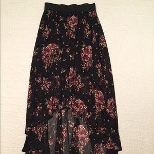 Black, Olive, and Burgundy Winter Floral Skirt